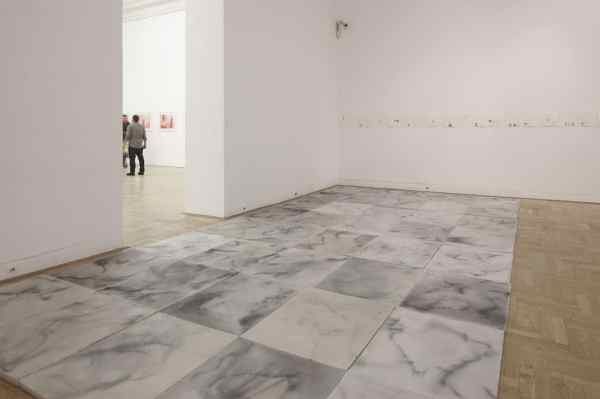 Dorota Buczkowska, Interror-Installation, marble like floor made of paraffin and explosive compounds in it, 2011 -2012, Zachęta National Gallery of Art Warsaw