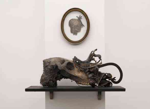 Jan Manski, Implement VII, 2013, 33 x 70 x 38 cm (13 x 27 1/2 x 15 in) found tools and measuring instruments, shelf, horse skull, polyvinyl acetate, soil, fur, photo courtesy of artist