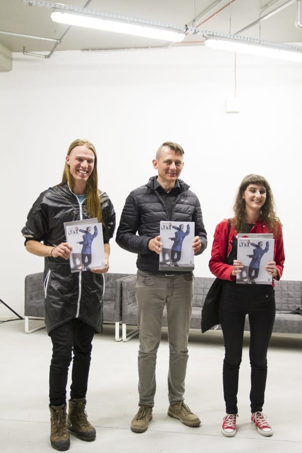 left: Michael Candy (AU), Jarosław Czarnecki aka Elvin Flamingo (PL) and Agata Kus (PL), WRO 2015 TEST EXPOSURE awards winners, photo Contemporary Lynx, 2015