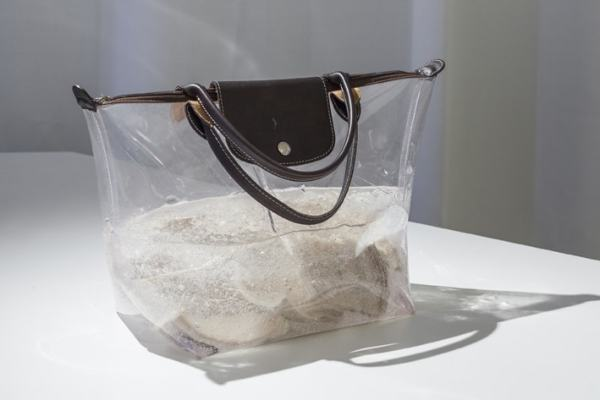 Anicka Yi, 235,681K of Digital Spit, 2010, PVC and leather bag, hair el, tripe Unique, Courtesy 47 Canal Exhibition view, THEM, Schinkel Pavillon, 2015, Photo: Timo Ohler