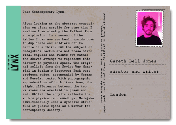PostcART: GARETH BELL-JONES SENT A POSTCARD TO LYNX
