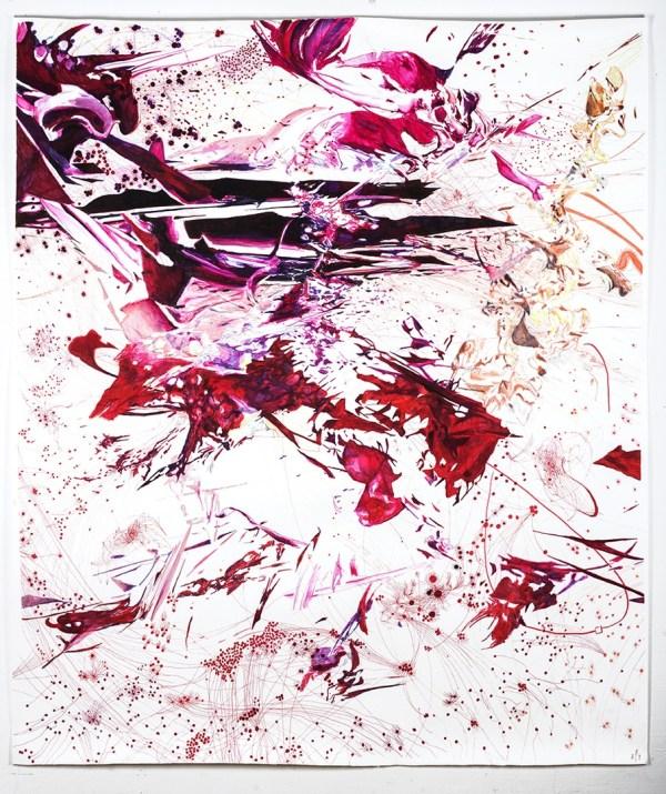 Maess, Metastasis III, 190 x 150 cm,marker on paper, 2015