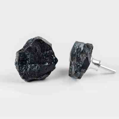 Earrings - Silver and Hard Coal Jewellery