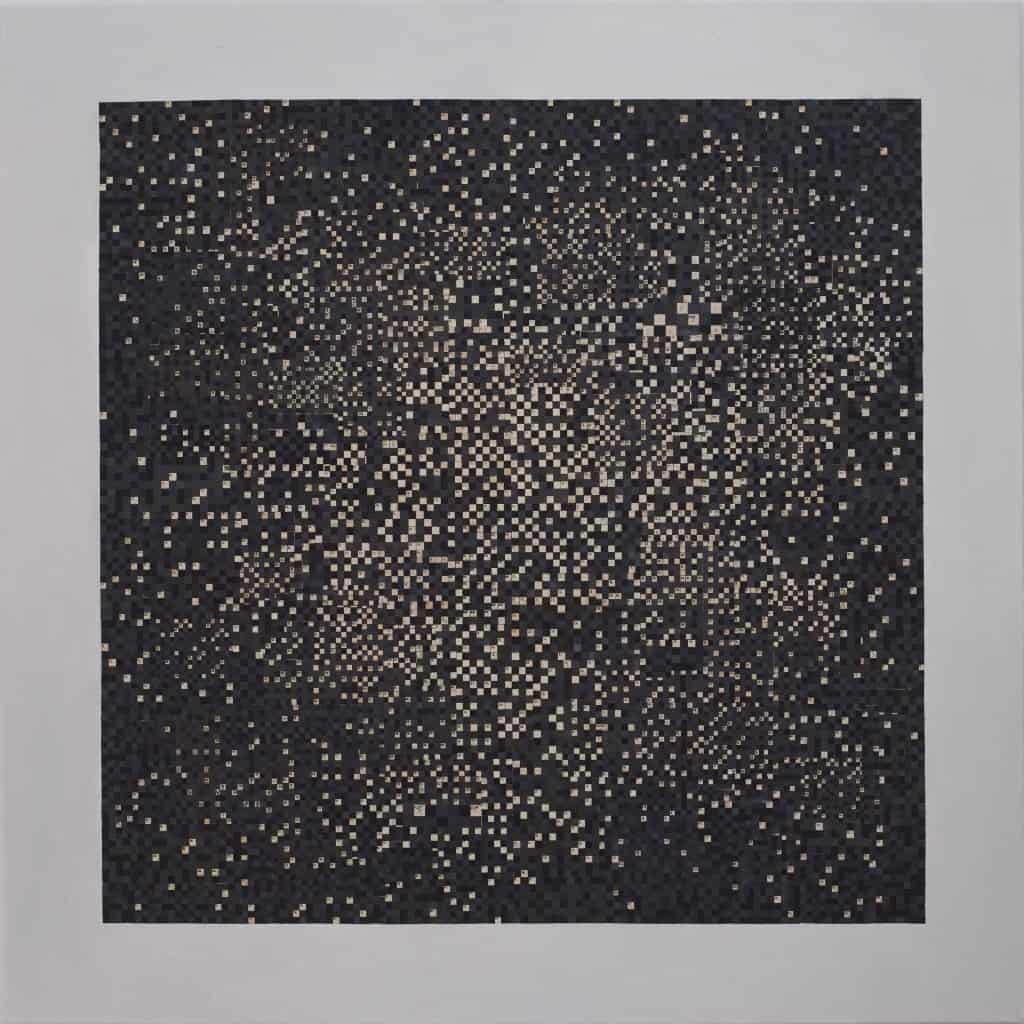 Mateusz Szczypiński, Black Square, 2014, collage, oil on canvas, photo courtesy the artist and lokal_30