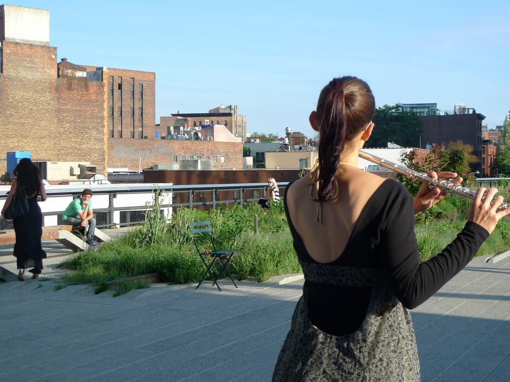 "Conceived by RU artist Ana Prvacki (Serbia), ""Wandering Band"" was a series of performances in June 2010 where vocalists and musicians armed with portable wind, string, and brass instruments strolled along The High Line performing their daily scales, tonal, and finger exercises."