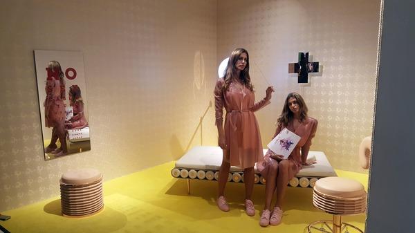 Twins Giulia and Elena Sella in Atelier Biagetti's stand No Sex in Miami at Design Miami, Image Victoria Stapley-Brown
