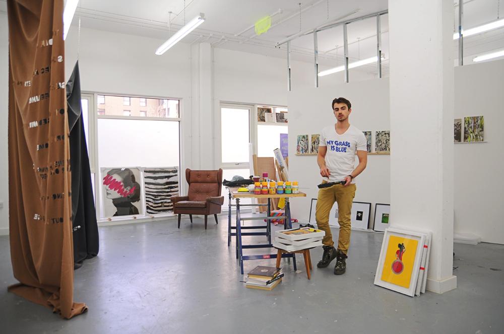 Self portrait, studio, Piotr Krzymowski.