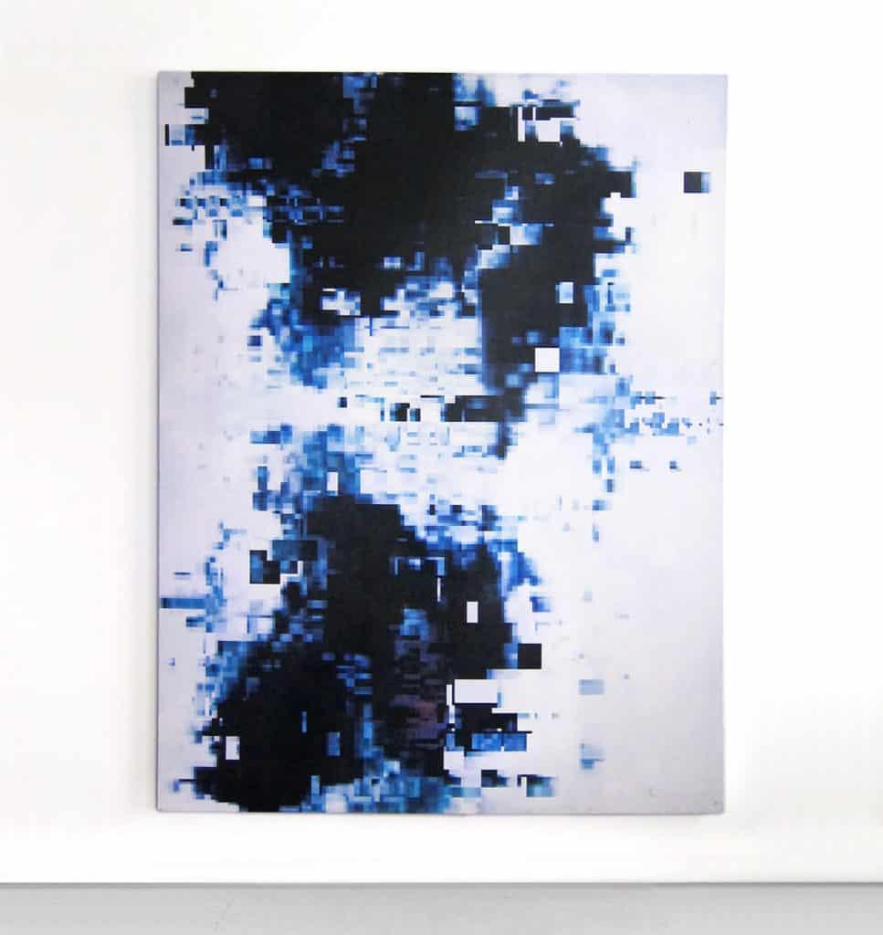 Konrad Wyrebek, Data Error painting (2017-2018), oil and acrylic paint, uv ink, spray paint on canvas, 200 x 150 cm, Courtesy Galerie Ron Mandos - Amsterdam.