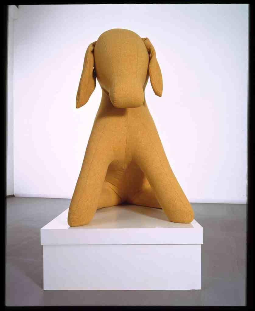 Cosima von Bonin, UNTITLED (THE YELLOW DONKEY WITH BOX), 2004. Mixed media. 148.5 x 81.6 x 142 cm. Photo: Simon Vogel. Collection Stedelijk Museum Amsterdam, donation Thomas Borgmann, Berlin