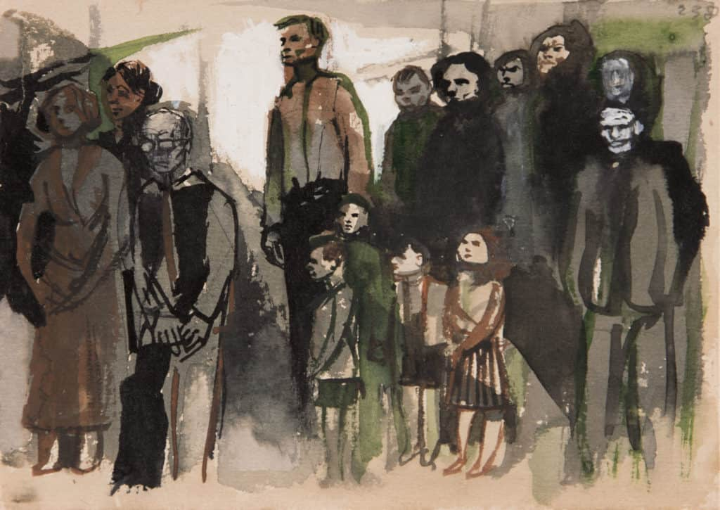 [Group Scene no.607] 1954 Ink on paper 29.7 x 42 cm Private Collection © Andrzej Wróblewski Foundation