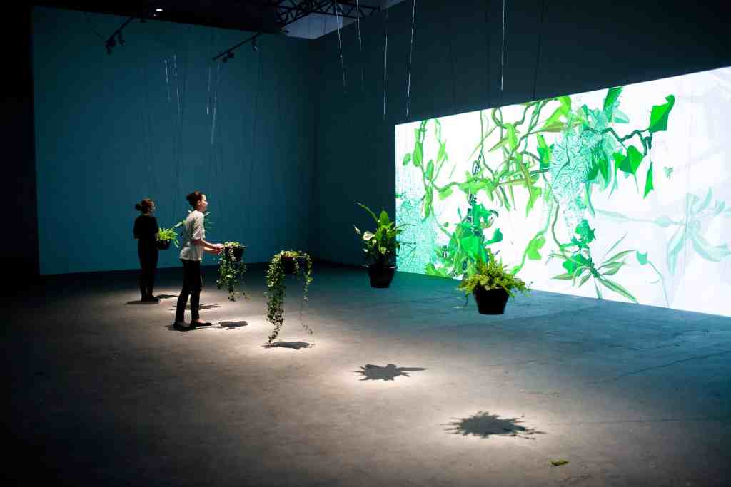 "Eau de Jardin at exhibition ""Wonderful Life"" in CCA LAZNIA, Christa Sommerer and Laurent Mignonneau, 2012, photo Krzysztof Miękus"