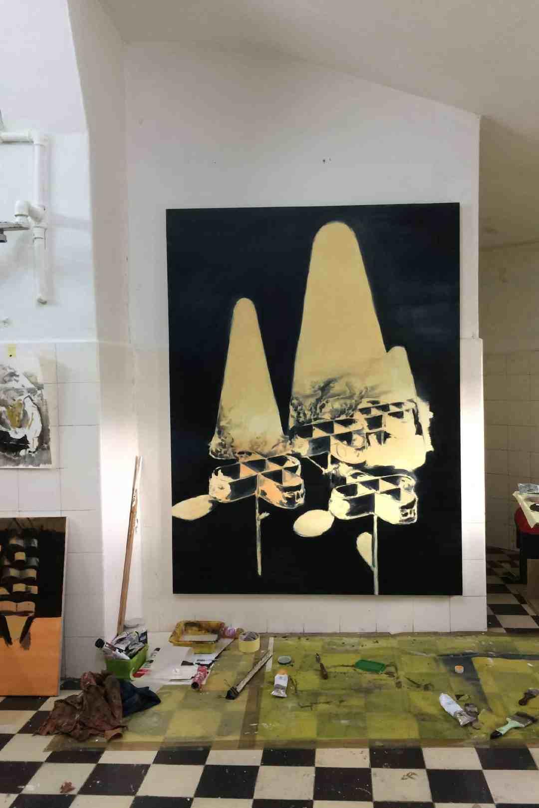 Bez tytułu, 120 x 160 cm, olej na płótnie, 2018 ( widok z pracowni)