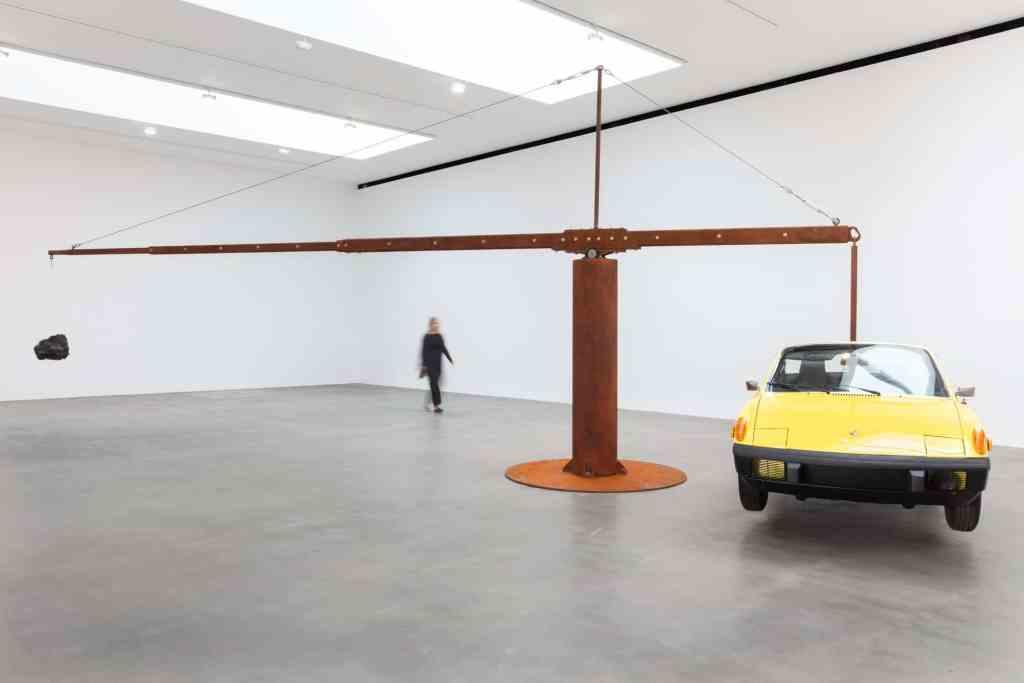 Installation view with Chris Burden, Porsche with Meteorite (2013), Artwork © Chris Burden_Licensed by the Chris Burden Estate and Artists Rights Society (ARS), New York. Photo Lucy Dawkins