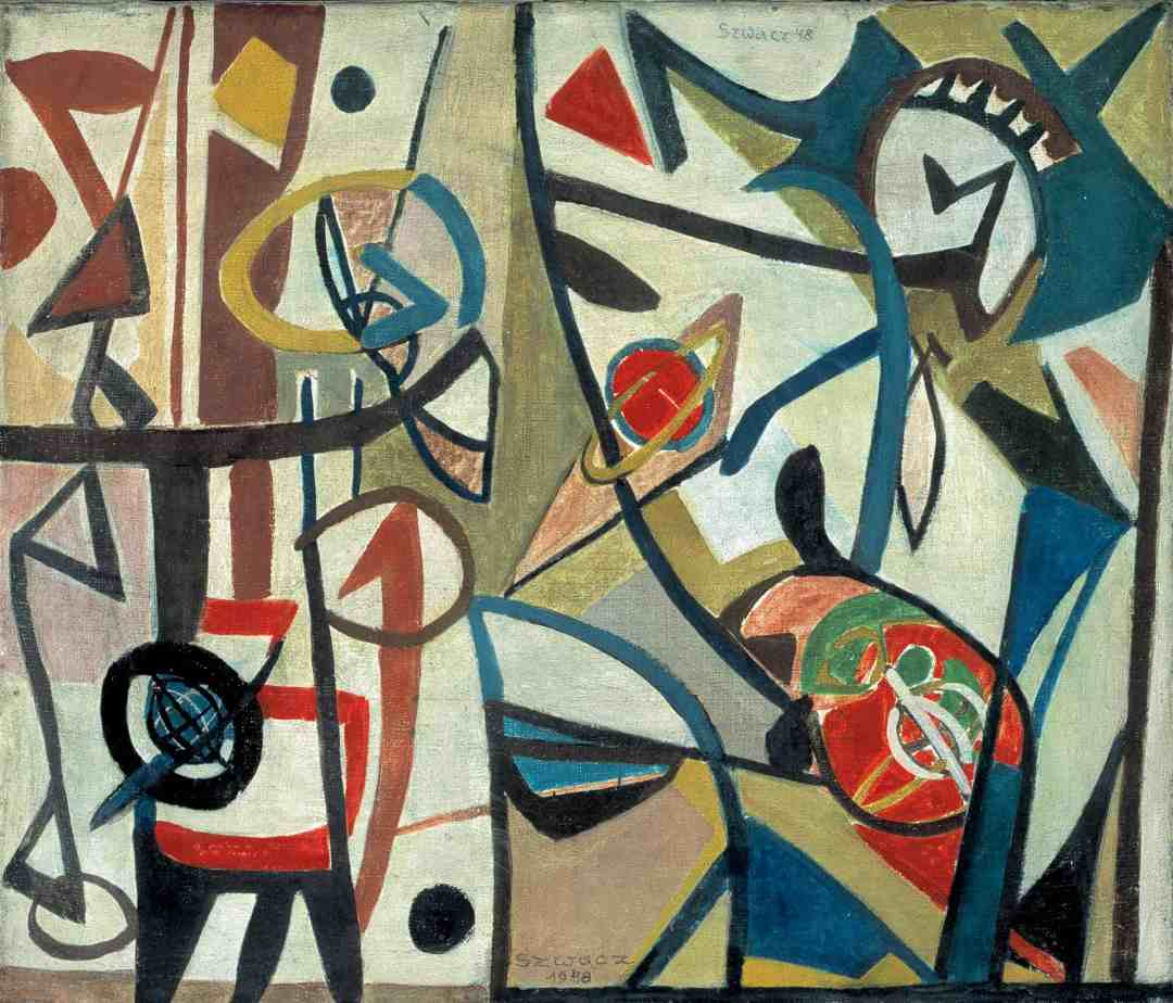 Bogusław Szwacz, Composition, 1948, oil, canvas, photograph by Zygmunt Gajewski