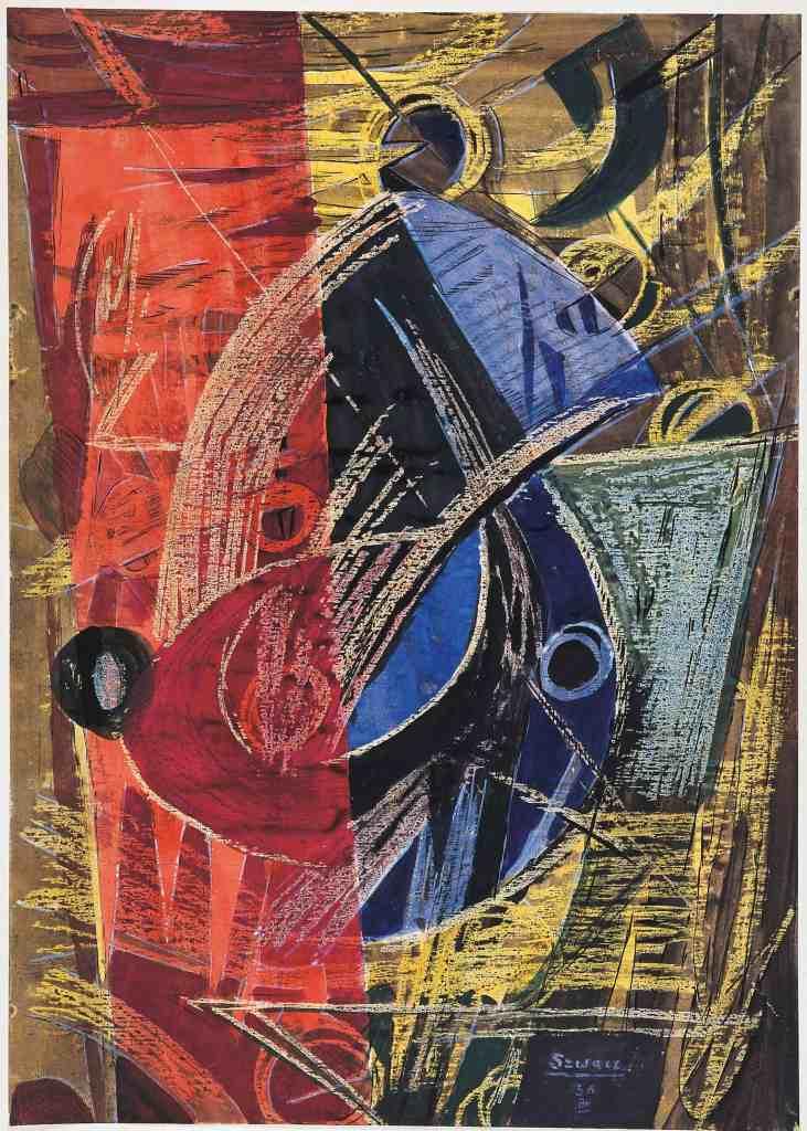 Bogusław Szwacz, Composition, 1956, ink, watercolour, tempera, pastel, paper, photograph by Zygmunt Gajewski.