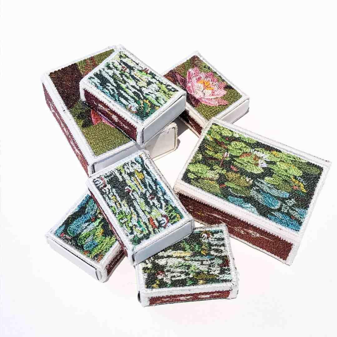 Baiba Osite, Water Lilies, embroidery, match box, silk thread, 20 x 20 x 3 cm