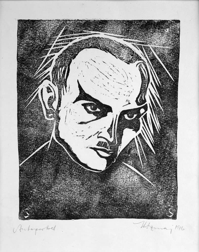 Stefan Szmaj, Self-portrait, 1916, Linocut, paper; 16,9 x 13,8 cm