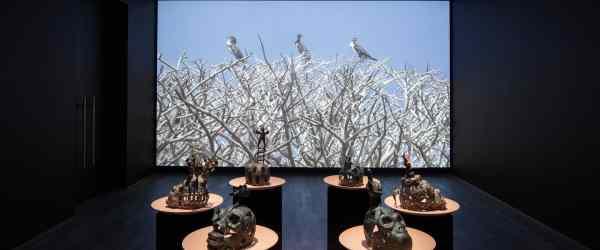 Exhibition view of How to talk with birds, trees, fish, shells, snakes, bulls and lions at Hamburger Bahnhof – Museum für Gegenwart – Berlin, 2018. © Nationalgalerie – Staatliche Museen zu Berlin / Thomas Bruns / VG Bild-Kunst, Bonn 2018