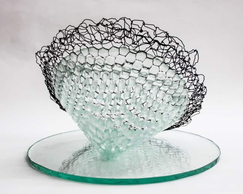 Telos, 2014, pressed and hand blown glass, metal