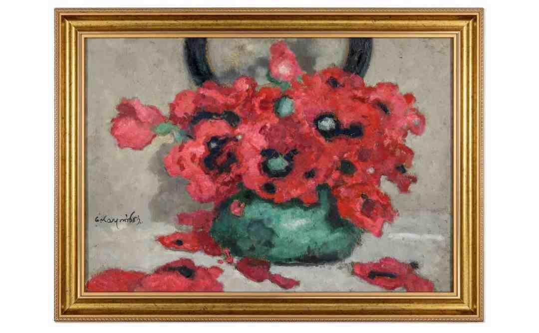 Alfons KARPIŃSKI (1875–1961) 'Poppies in a vase'('Maki w wazonie'), 34 x 50 cm, signed, framed, dated; late 1930s.