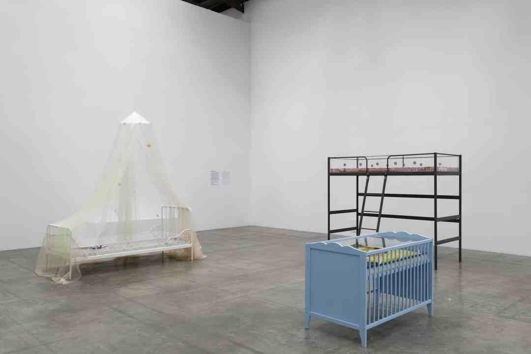 """Aude Pariset, from left to right: Promession®:Rêve de Chrysalide, Puberté Florissante (2018), Promession®:Schwammbett, Stadium des Krabbelns (2018), Young Adult Maze, Deciphering Level (2018), Exhibition view """"Future, Former, Fugitive"""", Palais de Tokyo (10.16.19 – 01.05.20), Courtesy of the artist & Sandy Brown (Berlin), Photo credit: Aurélien Mole"""