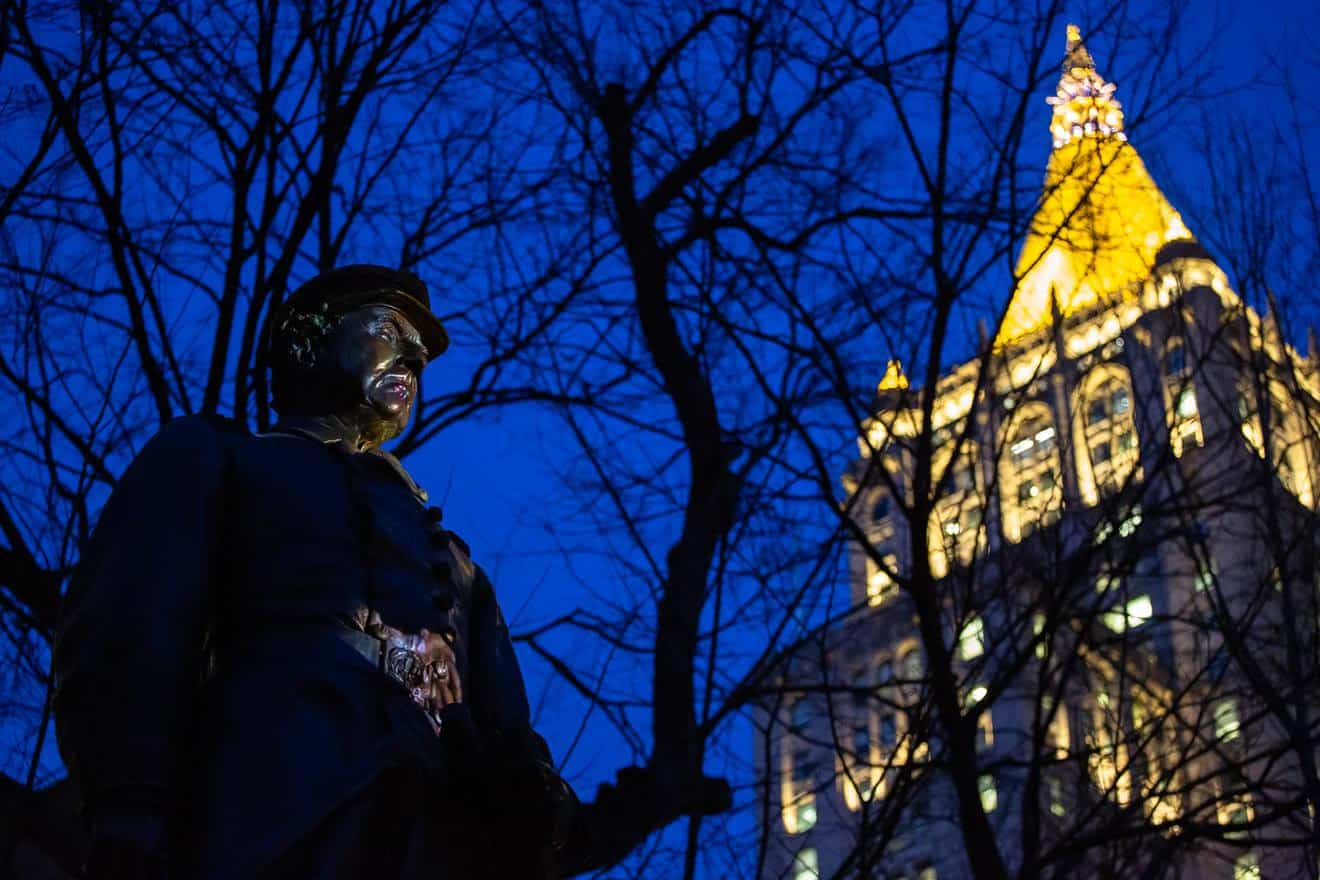 Krzysztof Wodiczko, Monument, 2020. Digital color video, sound, 25 minutes. Hunter Canning Photography, courtesy Madison Square Park Conservancy.