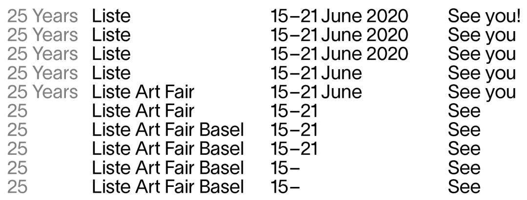 liste art fair 2020
