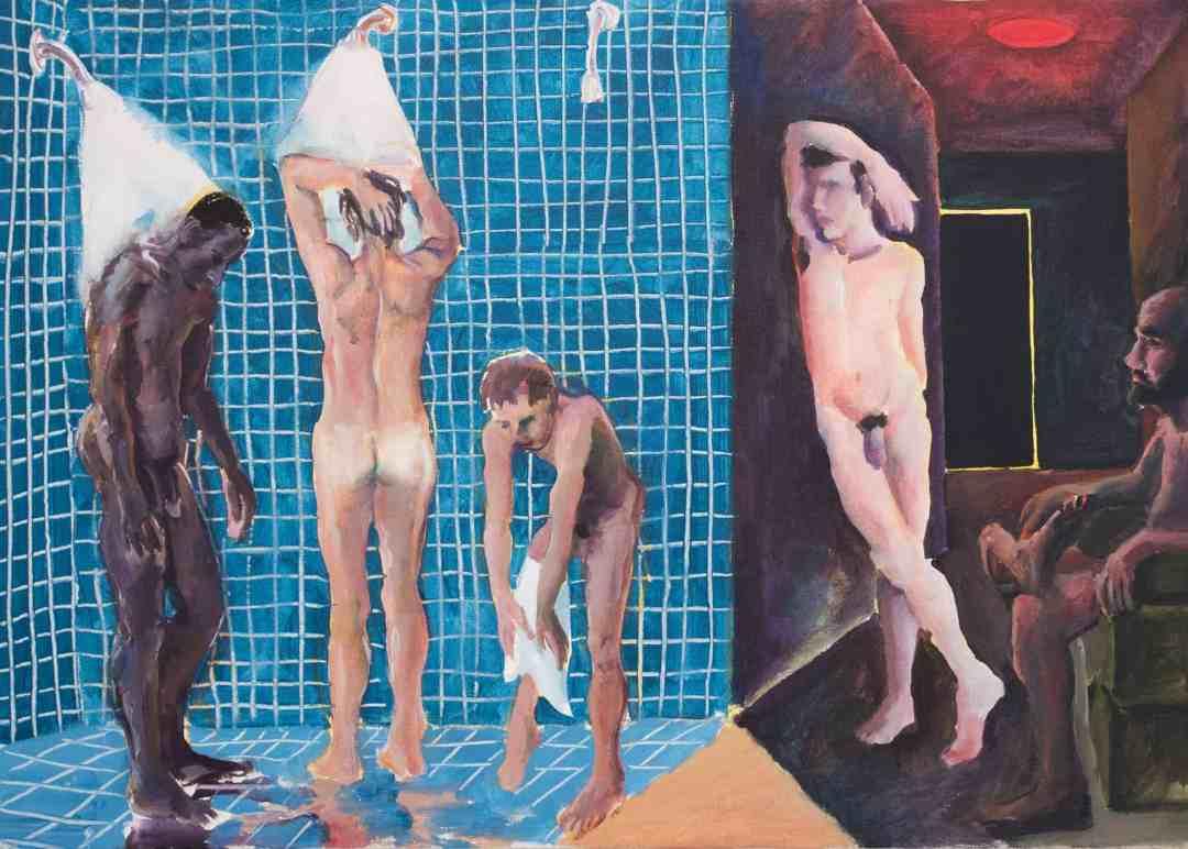 Patrick Angus, A Shower at the Baths, 1984, Acryl auf Leinwand, 51 X 71 cm, Sammlung Andreas Pucher, Stuttgart © Douglas Blair Turnbaugh