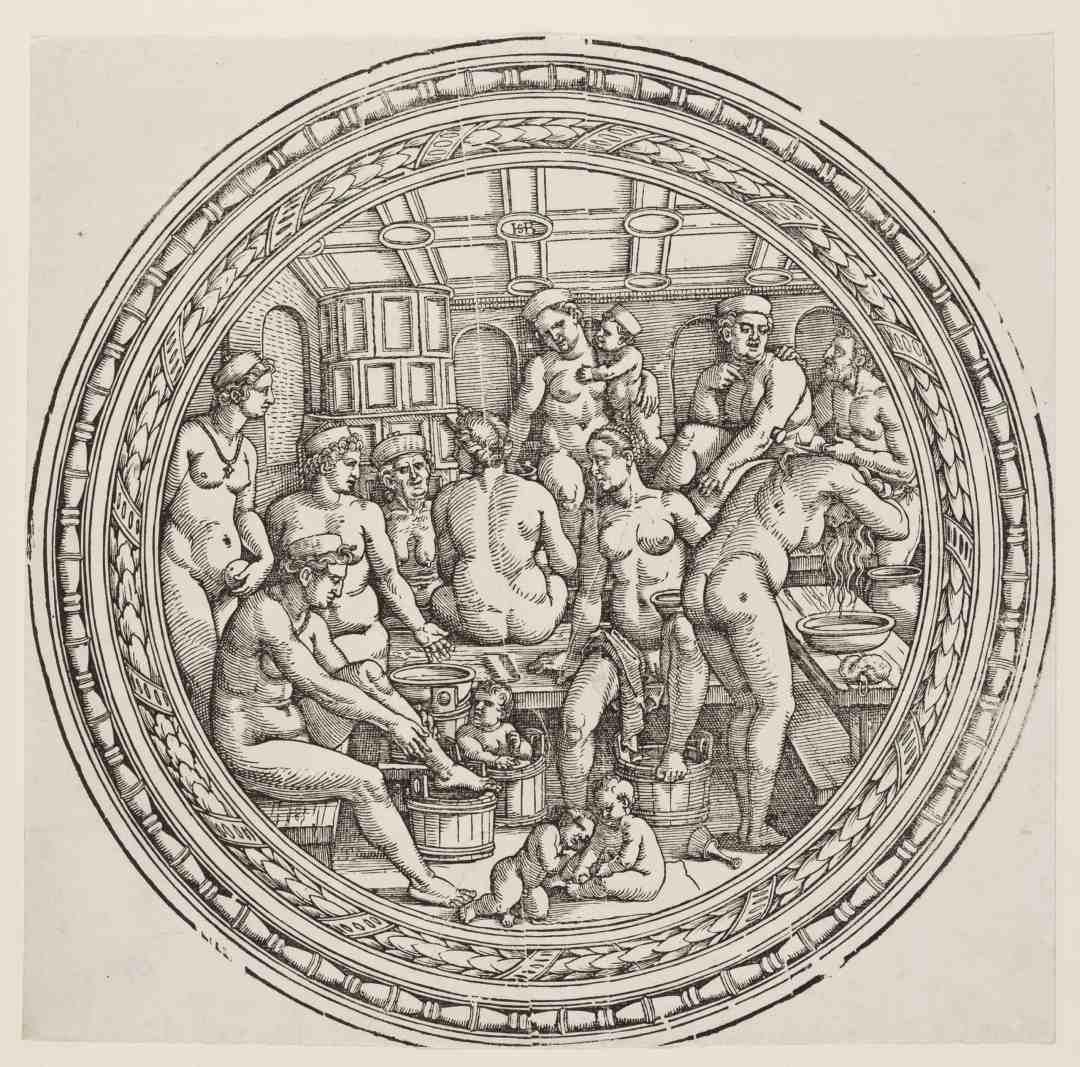Hans Sebald Beham , Das Bad, im Rund, 1515 - 1550, Holzschnitt, beschnitten, 28,8 x 29,2 cm, Kunstsammlungen der Veste Coburg