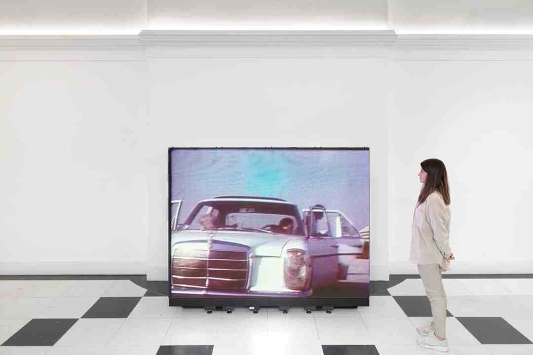 Hito Steyerl installation, Life Captured Still, Galerie Thaddaeus Ropac, London
