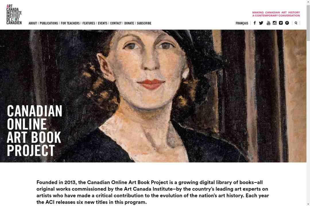 Screenshot of the website Art Canada Institute