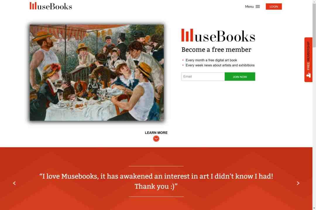 Screenshot of the website Musebooks