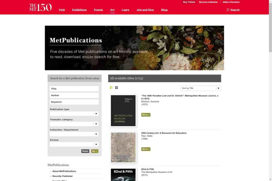Screenshot of the website The Met