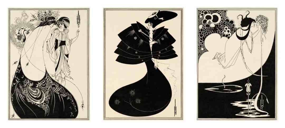 Aubrey Beardsley, Illustrations for Oscar Wilde's Salome 1893, The Peacock Skirt, The Black Cape,The Climax, Line block print on paper, Stephen Calloway, Photo: © Tate