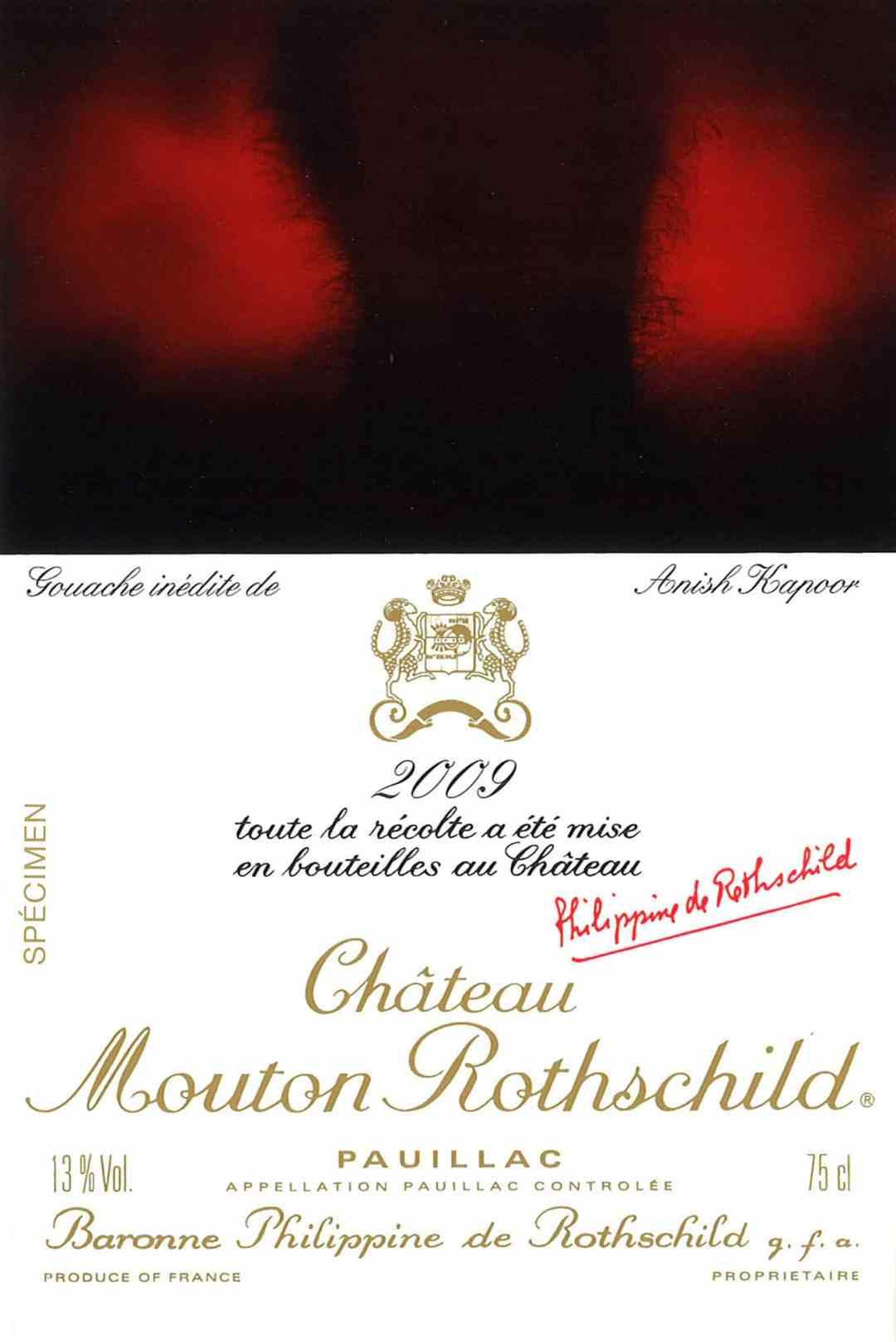 Etiquette designed by Anish Kapoor, Château Mouton Rothschild