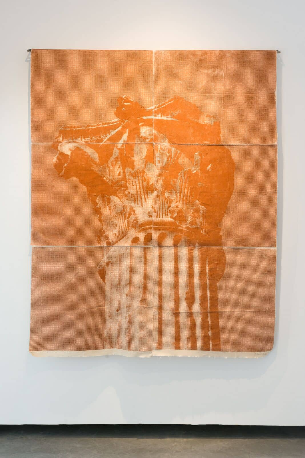 Malek Gnaoui, SC20/current red, 2020, screen-print and red brick dust on fabric. From Essaïda-Carthage series