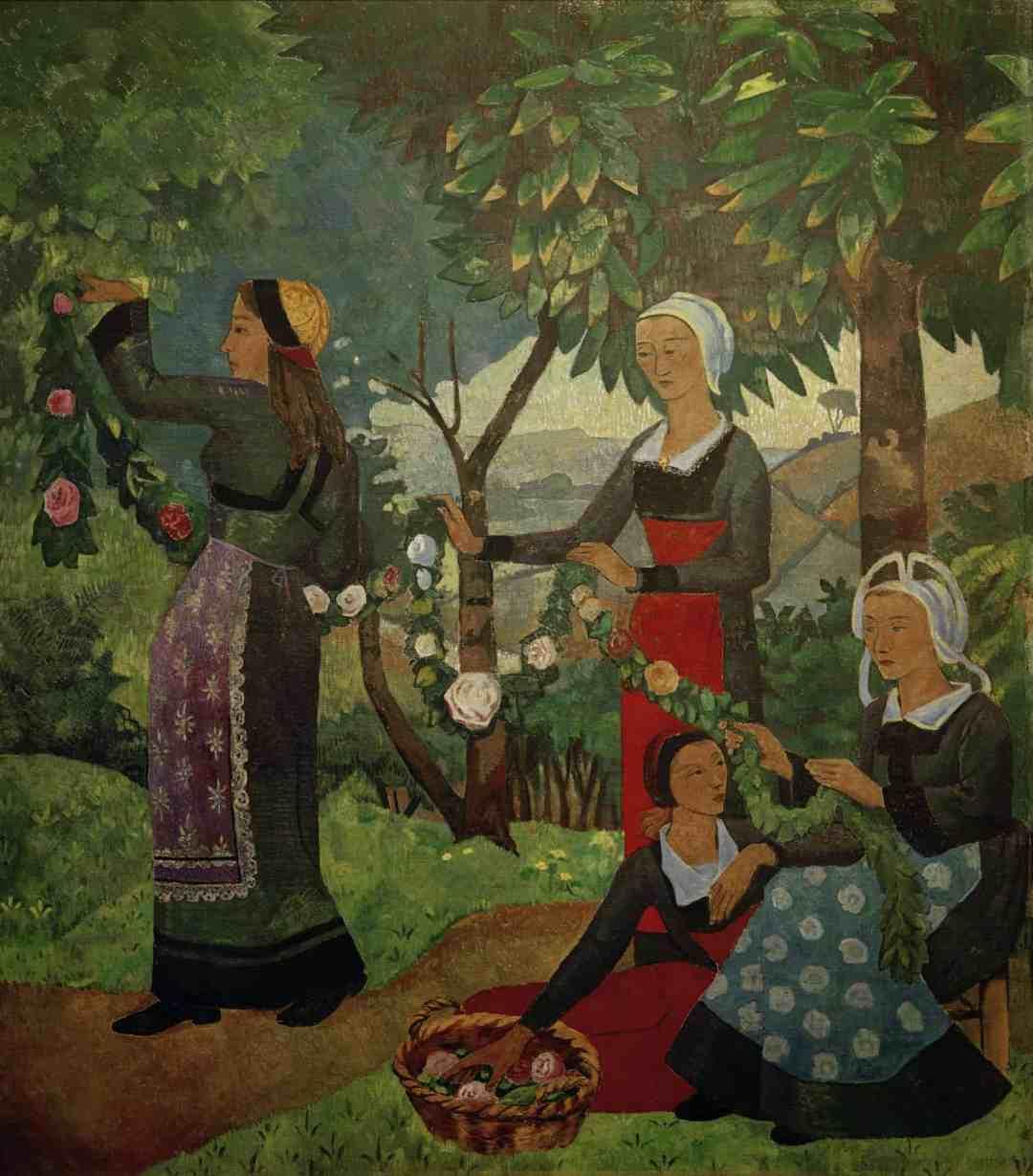 Paul Sérusier, La guirlande de roses, 1898 Huile sur toile, 194 × 175 cm. Genève, Association des Amis du Petit Palais. © akg-images