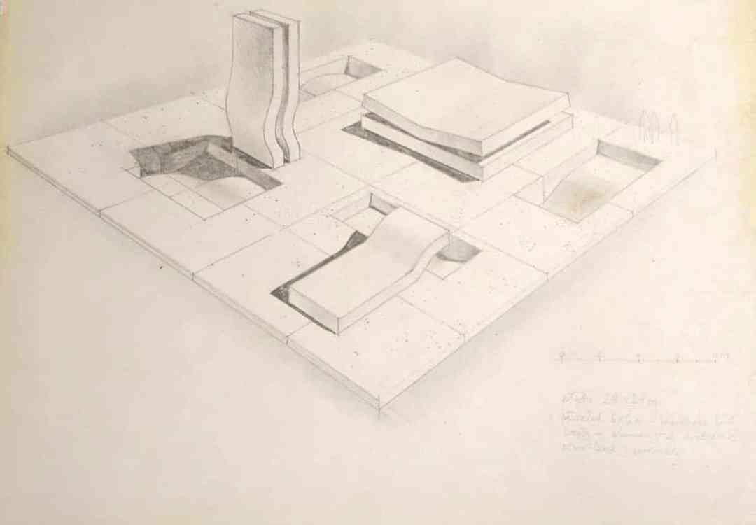Zdzisław Jurkiewicz, Field of Perception, 1970, design sketch, drawing, pencil, paper, 30 x 41 cm. Courtesy of Alina Jurkiewicz