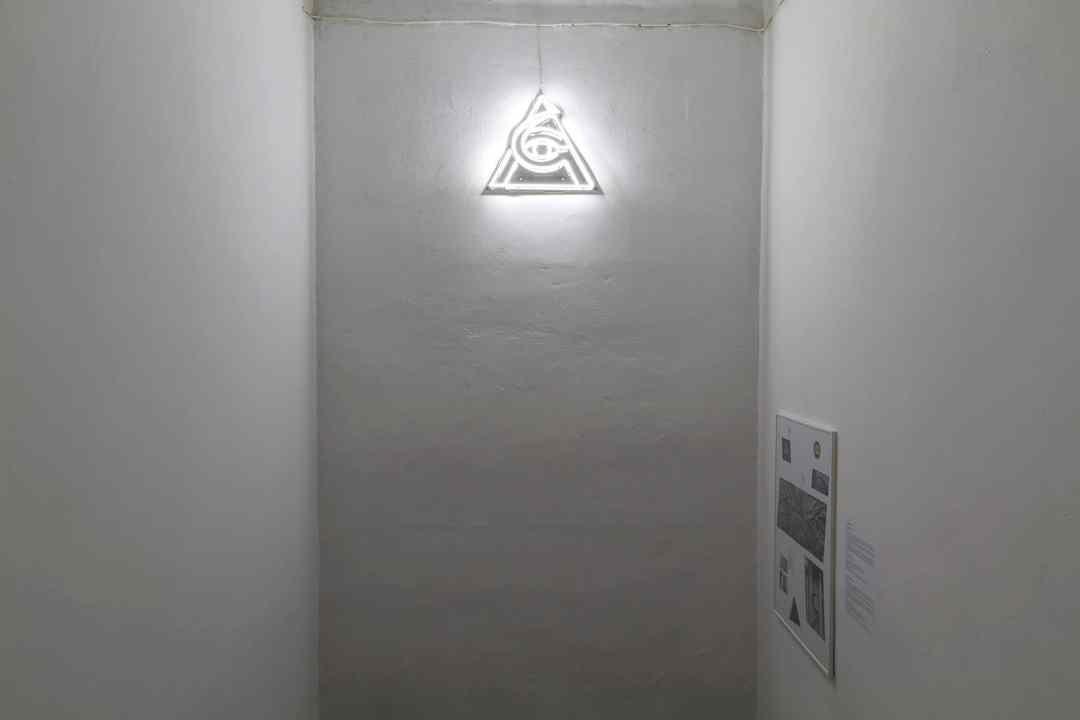 Sergey Shabohin, Pyramid of Alienation, 2020, neon, glossary, photo Maciej Zaniewski