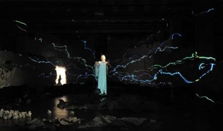 Mac Wellman's ANTIGONE, Directed by Caleb Hammond (Directing MFA '14),  Media design by Bryce Cutler( BFA '13), photo by Louis Stein