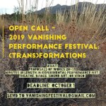 Opportunities: Vanishing Performance Festival (New Orleans, LA) Deadline – October 1, 2019