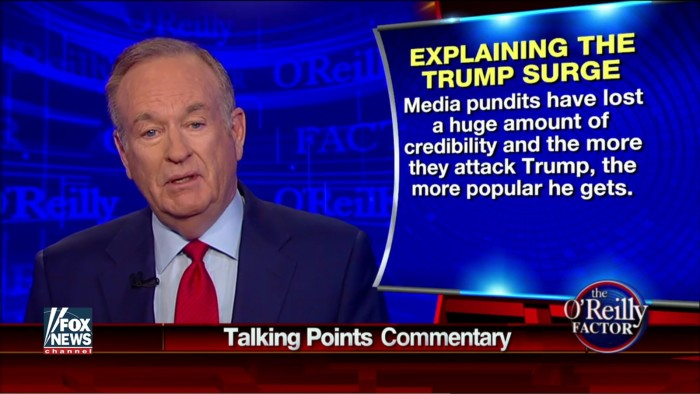 """Lacking All Self-Awareness, O'Reilly Says """"Pundits Have Lost A Huge Amount Of Credibility"""""""