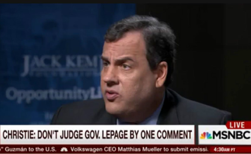 """""""He's A Good Man"""": Chris Christie Has Racist Governor Paul LePage's Back"""