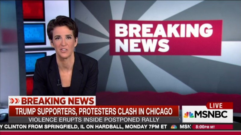 """Rachel Maddow On Trump Rally Violence: """"It Is Impossible To Say That This Is An Accident"""""""