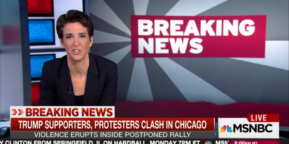 rachel maddow on trump rally violence it is impossible to say that