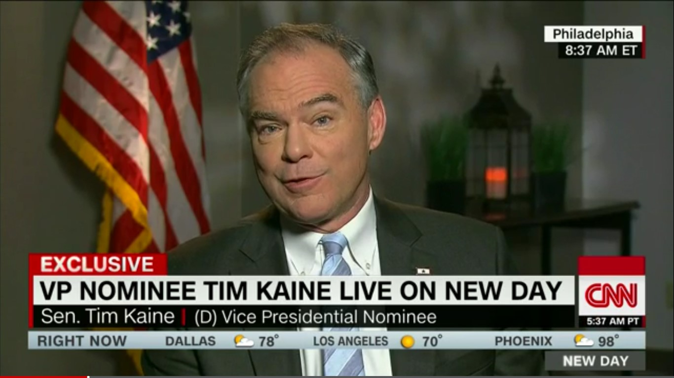 """Tim Kaine: Trump Wasn't Sarcastic On Russian Hacking, """"He Was Being Ignorant"""""""