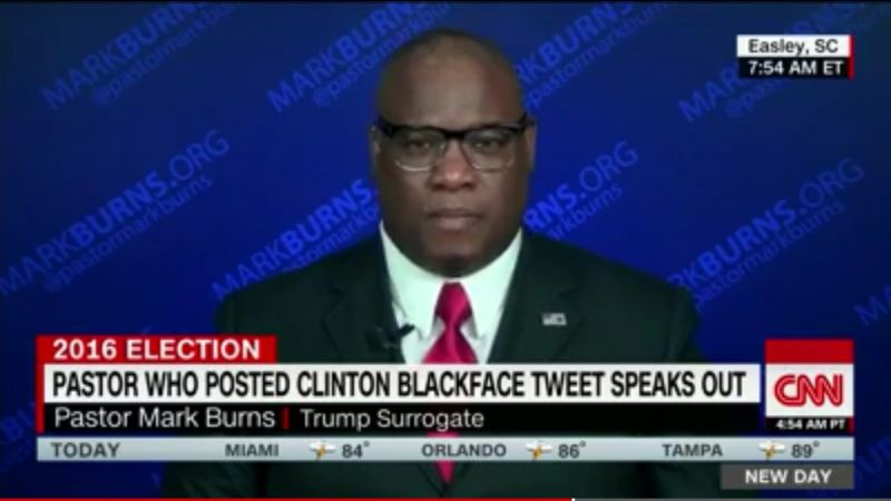 Pro-Trump Pastor Really Sorry For Fake Clinton Blackface Tweet, Refuses To Delete It