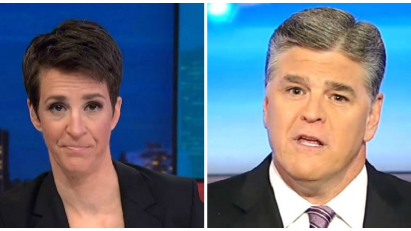 Maddow Beats Hannity Head-to-Head Monday Night, Leads Cable News Ratings