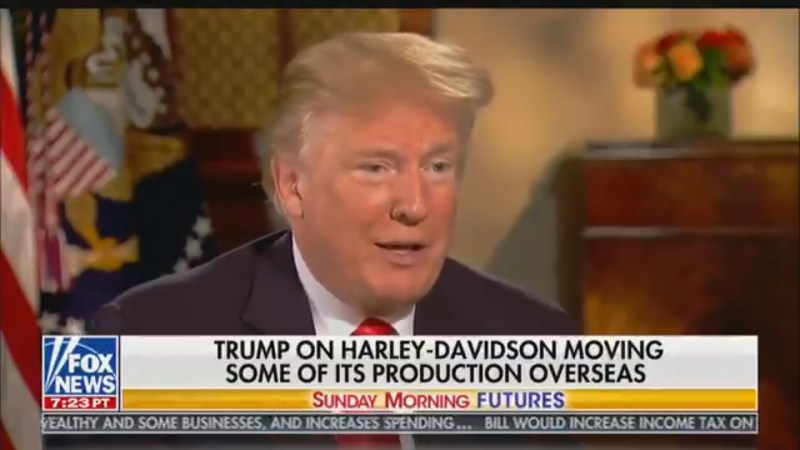POTUS Guarantees That 'Everybody That Ever Bought A Harley-Davidson Voted For Trump'