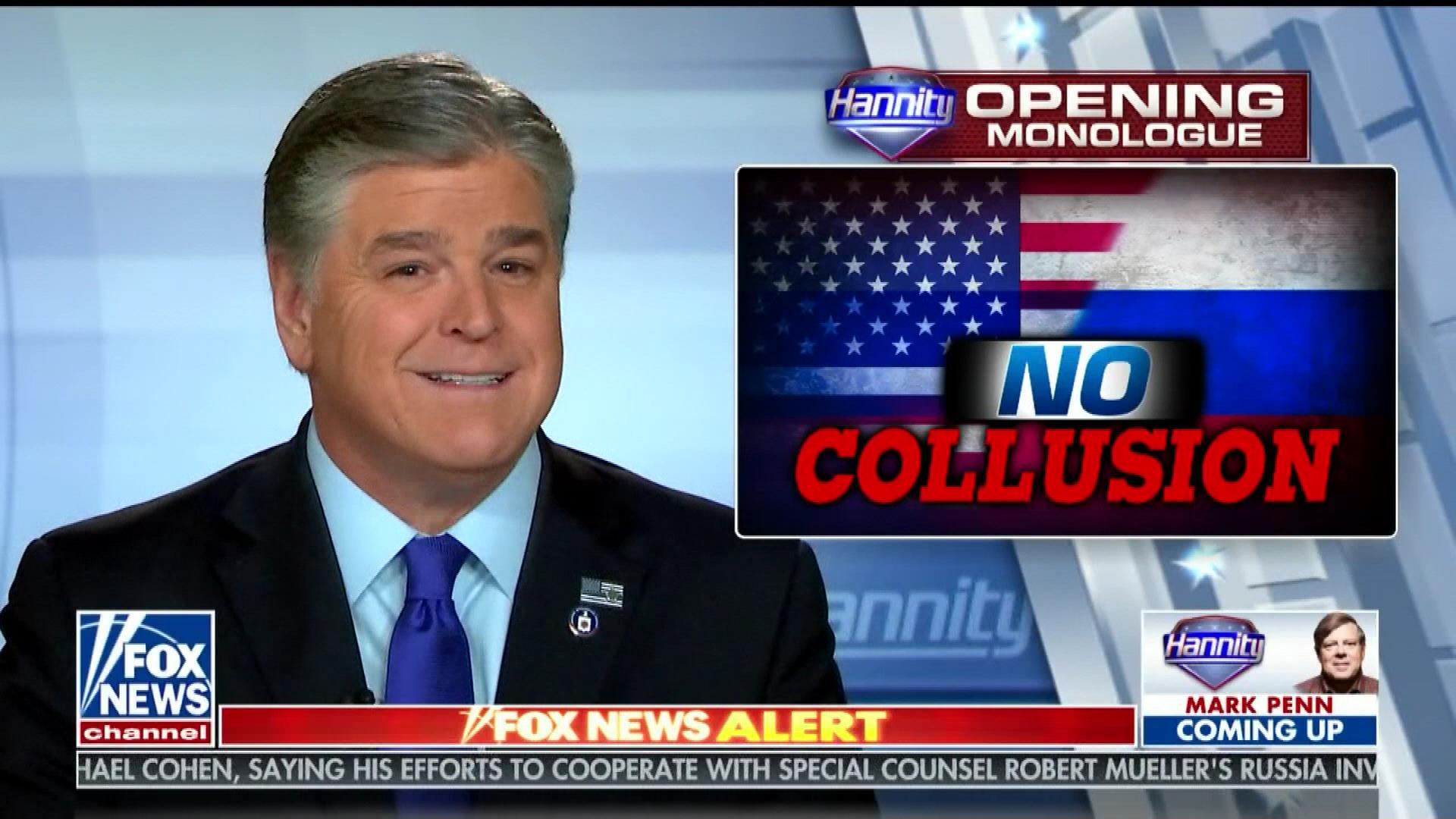 Hannity Shrugs Off Manafort And Cohen Filings: 'No Evidence Of Any Collusion. Nothing'